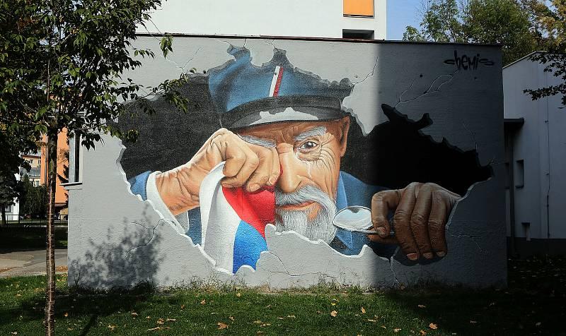 Plačící Masaryk, autor Chemis, VŠ koleje. Street art v Olomouci