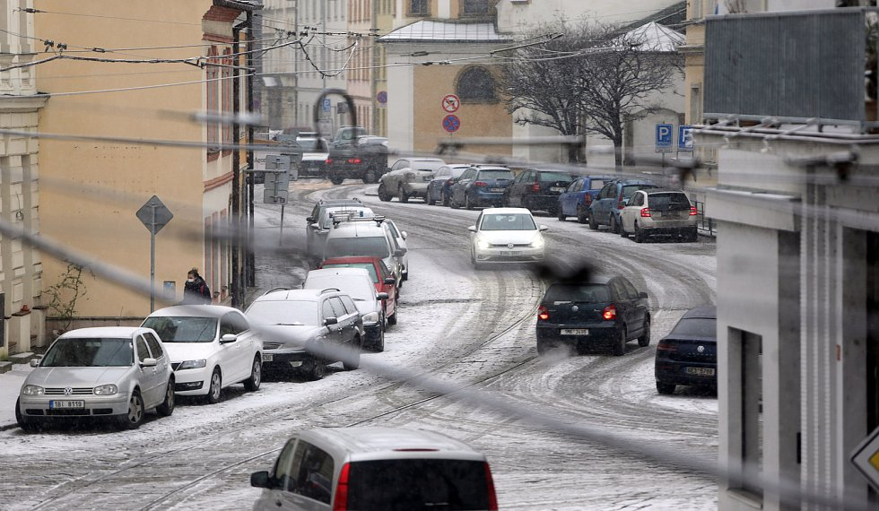 Sněžení v Olomouci - 3. 12. 2020