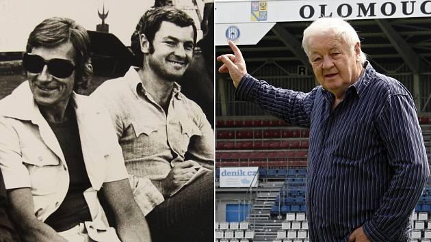 Trenérské začátky: Milan Máčala s Karlem Brücknerem (vlevo) a současnost na Andrově stadionu v Olomouci