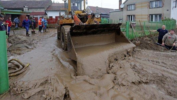 Blesková povodeň na Litovelsku - Bílá Lhota, místní část Hrábí