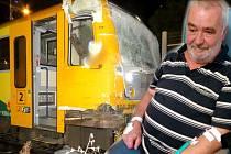 Při srážce vlaku s kamionem na přejezdu v Olomouci se lehce zranilo devět cestujících. Pan Ilja Simper jako jediný zůstal v nemocnici