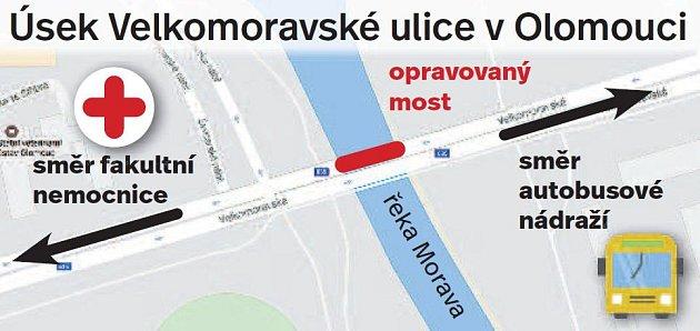 Oprava mostu ve Velkomoravské