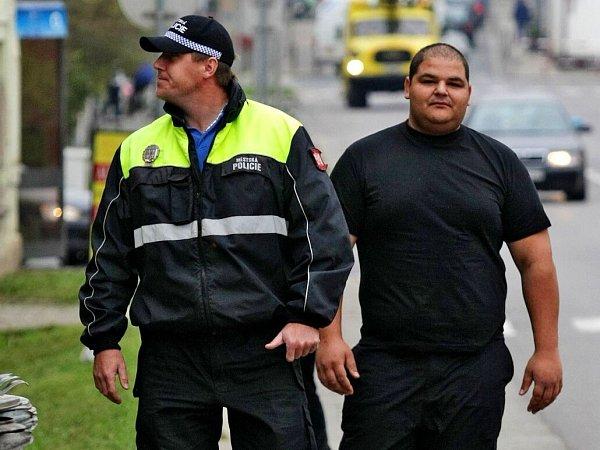 Romský asistent prevence kriminality na obchůzce směstskou policií. Ilustrační foto