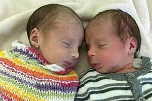 Šárka a Alice Ponížilovy, Vřesovice narozeny 7. října míry 48 cm a 47 cm, váha 2260 g a 2070 g
