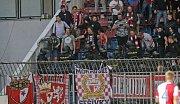 Zásah v sektoru fanoušků Slavie při zápase se Sigmou na Andrově stadionu