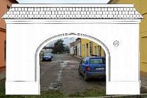 Ulice Stará Víska v Hodolanech a náčrt Hanácké brány. Ilustrační koláž