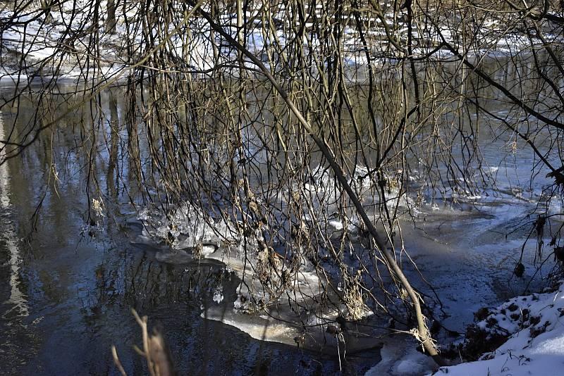 Kus nádherné přírody v okolí Hynkova s hučícím jezem, ledem a rameny Moravy