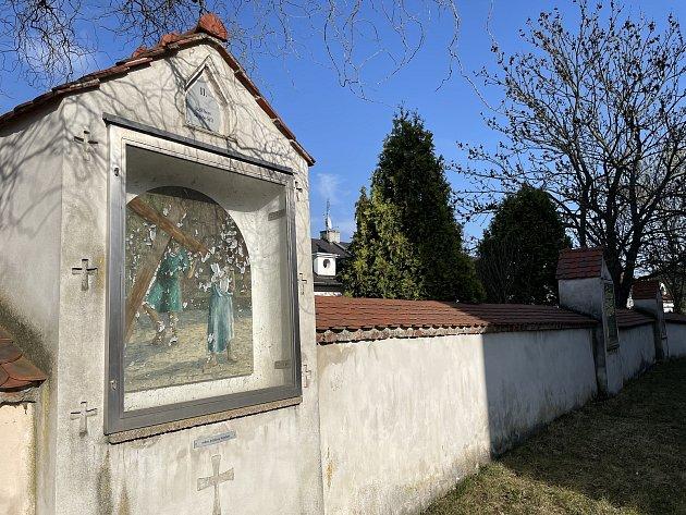 Křížová cestavOlomouci-Slavoníně ukostela svatého Ondřeje, březen 2021