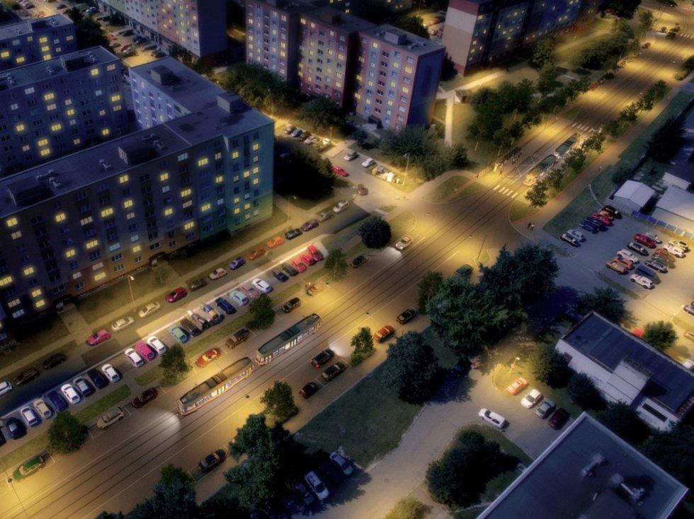 Rozšíření tramvajové trati na Nové Sady a do Slavonína. Na snímku je vizualizace - stav po - Zikova ulice