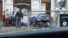 Dopravní nehoda na Palackého ulici v Olomouci.
