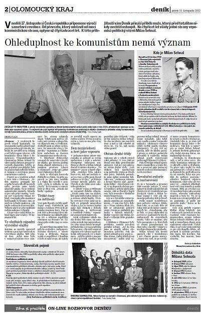 Milan Sehnal vOlomouckém deníku