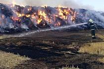 Požár stohu u Droždína