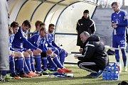Olomoučtí fotbalisté (v modrém) porazili v přípravě Nitru 1:0. Václav Jílek, trenér Olomouce.