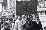Protest proti okupaci na Horním náměstí v Olomouci