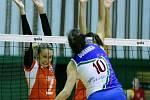 Olomoucké volejbalistky (v oranžovém) v evropském CEV Cupu proti AzerRail Baku
