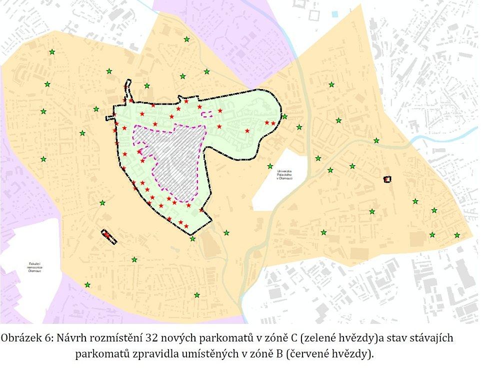 Návrh rozmístění nových parkovacích automatů