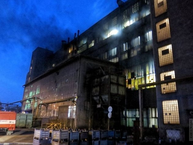 Požár v Moravských železárnách v Olomouci