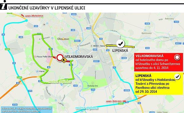 Uzavírka Velkomoravské a Lipenské ulice - stav od 29.10. 2014