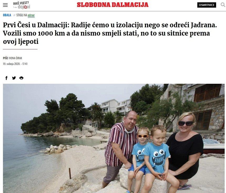 Slobodna Dalmacija. Turistů z Olomouce na Makarské riviéře si všimla i místní média
