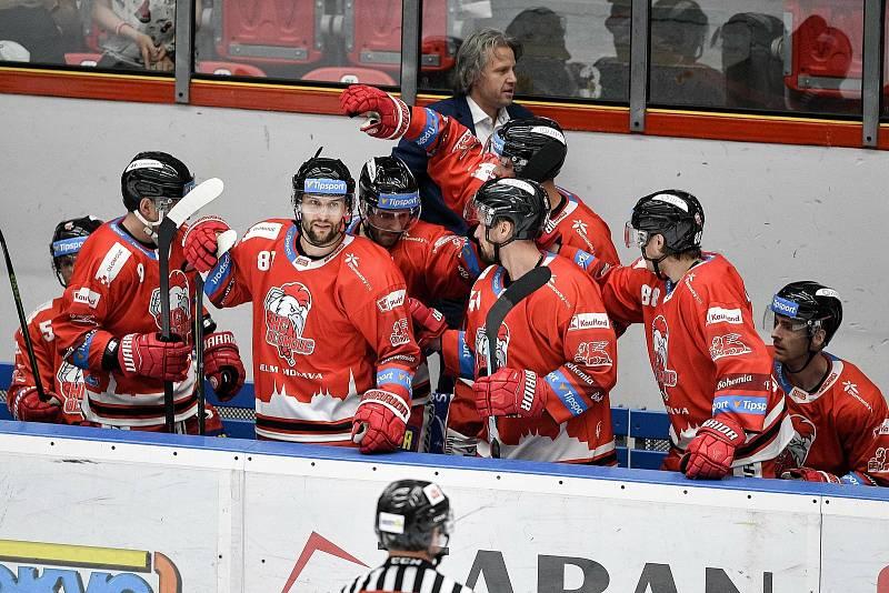 Utkání 1. kola hokejové extraligy: HC Olomouc - BK Mladá Boleslav, 10. září 2021 v Olomouci. (střed) David Krejčí z Olomouce oslavuje gól.