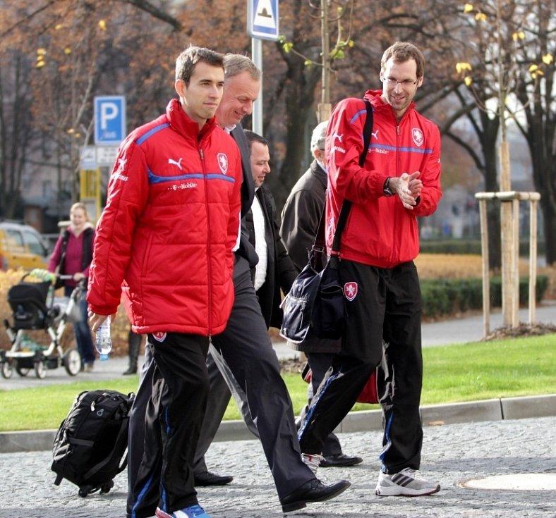 Fotbalová reprezentace přijela do Olomouce k přátelskému zápasu s Kanadou. Tomáš Hořava, Petr Čech