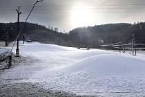 Zasněžování ve skiareálu na Hrubé Vodě. 15. listopadu 2016