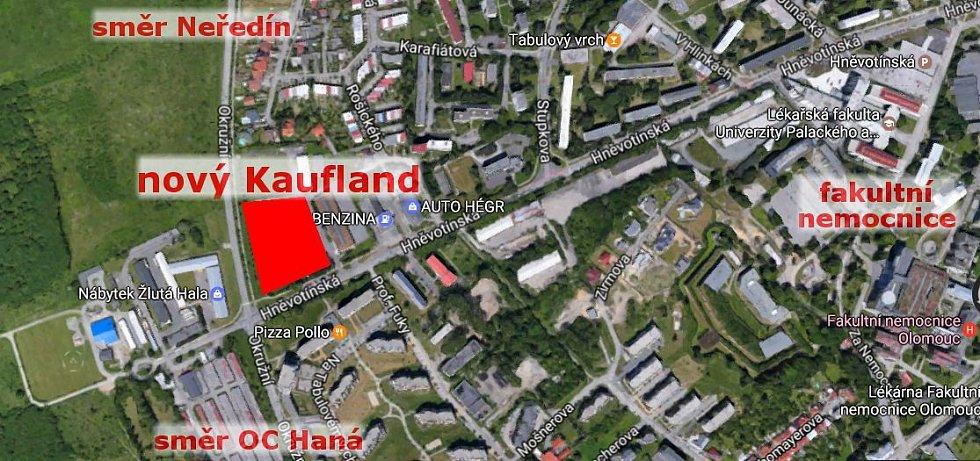 Umístění chystaného supermarketu Kaufland na Tabulovém vrchu v Olomouci