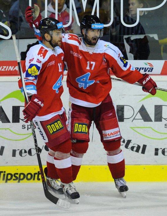 Vpravo střelec vyrovnávací branky na 2 : 2 Dávid Buc, vlevo Jan Knotek z Olomouce.
