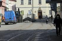 Začala oprava ulice 8. května v centru Olomouce. 14. dubna 2020