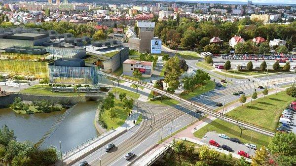 Napojení tramvajové trati ze třídy 17.listopadu kobchodní galerii Šantovka