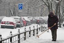 Zasněžené centrum Olomouce