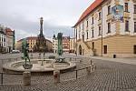 Centrum Olomouce, sobota dopoledne 13. března 2012. Horní náměstí