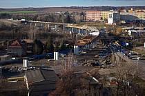 Stavba estakády v Přerově - Předmostí na příjezdu od Olomouce. 2. března 2020
