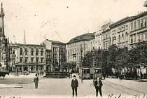 Olomoucké Horní náměstí (Oberrring) na pohlednici z roku 1905