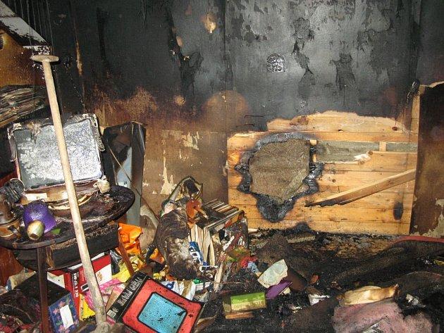 Vyhořelý pokoj ve Velké Bystřici
