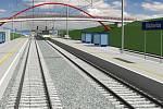 Vizualizace modernizace trati Přerov - Brno. Blažovice
