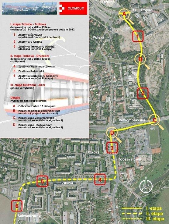 Mapa tramvajové trati na Nové Sady