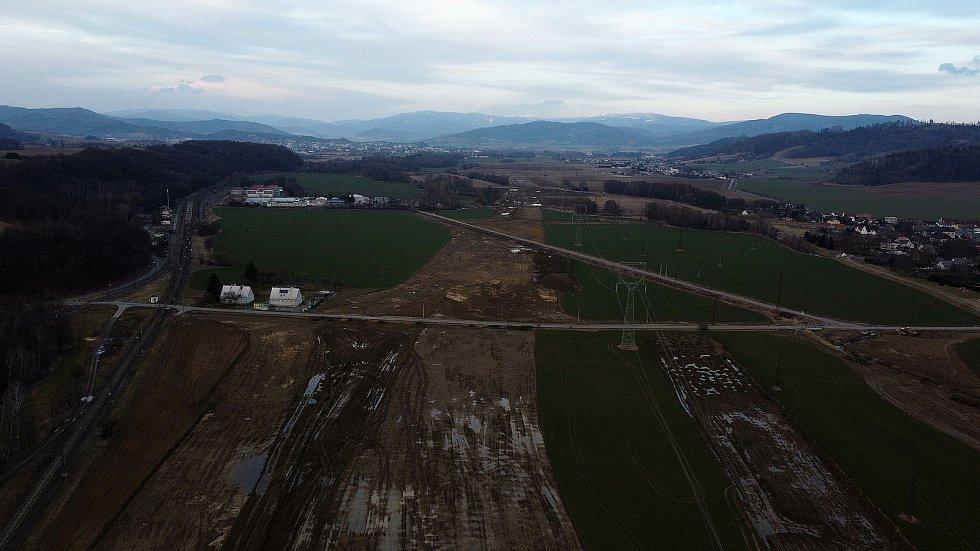 Bludov - stavba obchvatu obce na hlavním tahu Zábřeh - Šumperk, březen 2021