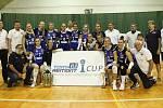 Volejbalistky Olomouce (v modrém) skončily na turnaji druhé, zvítězil Olymp.
