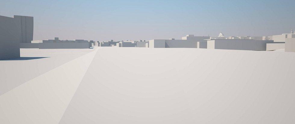 Pohled od Envelopy. Šantovka Tower na modelu Klubu architektů Olomoucka: