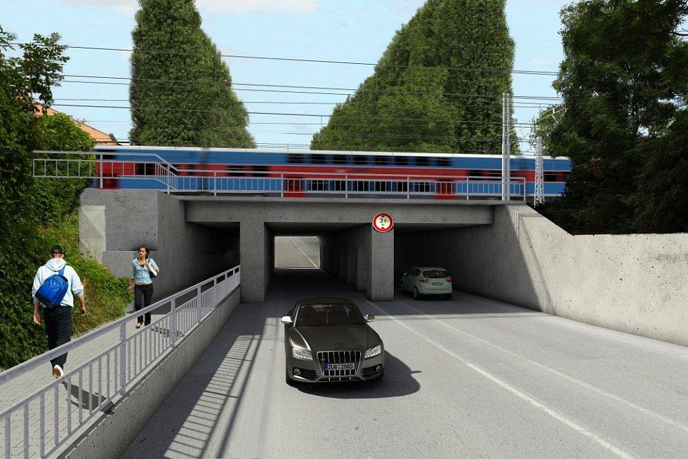 Vizualizace přestavby Železniční stanice Olomouc - Součástí rekonstrukce železniční stanice jsou i opravy mostů. Vizualizace ukazuje silniční podjezd na Pavlovičkách
