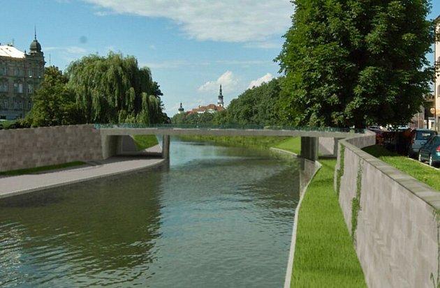 Vizualizace bermy směrem k mostu v Komenského ulici