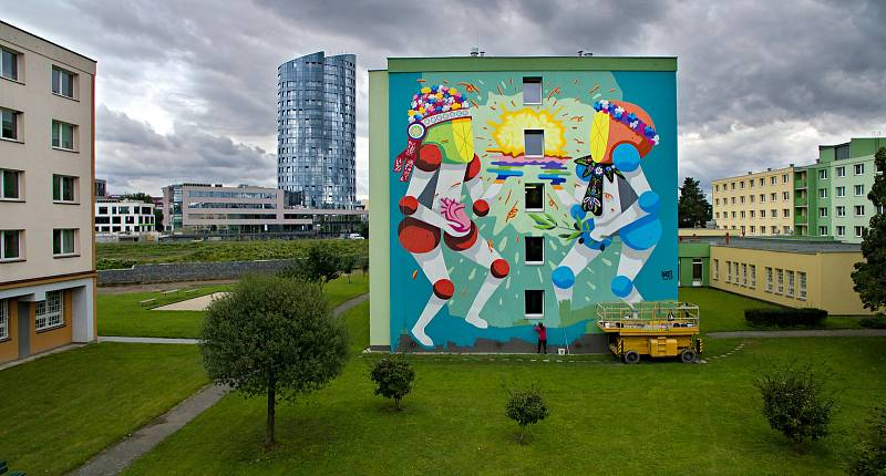 Autor Koctel Kahoolawe, VŠ koleje. Street art v Olomouci