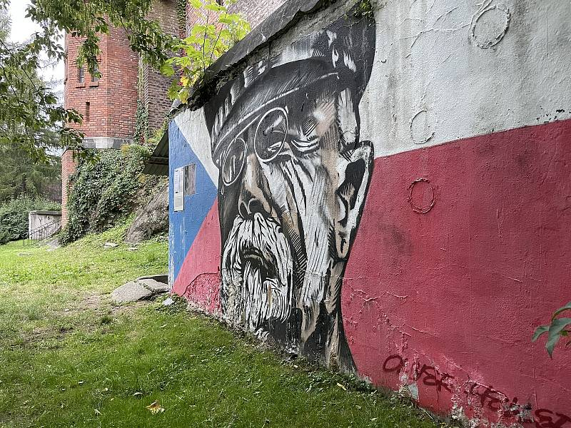 Masaryk, autor Dalibor Vybíral alias Oliver Heller, Bezručovy sady. Street Art v Olomouci