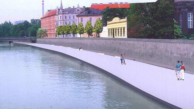 Vizualizace chystaných náplavek kolem Moravy od mostu u Bristolu k mostu na Masarykově třídě