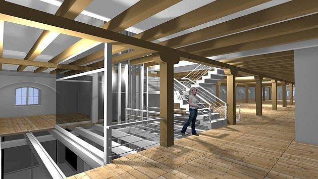 Vizualizace rekonstruovaného dělostřeleckého skladu pro Muzeum poznání vKorunní pevnůstce