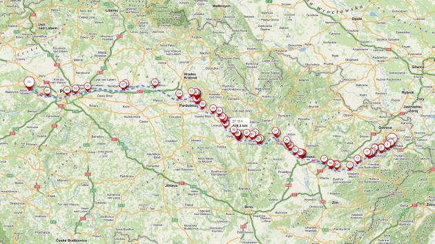 Mapa retrojízdy
