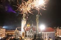 Mikulášský ohňostroj na Horním náměstí v Olomouci