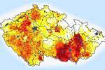 Odchylka půdní vlhkosti od obvyklého stavu v období 1961 - 2010. Stav ze dne 11.6. podle projektu Intersucho.cz