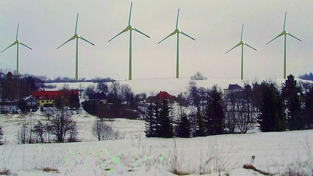 Vizualizace možného pohledu na případných šest z devíti navrhovaných větrných elektráren u Nových Valteřic